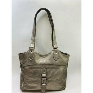 Gray Metallic Double Strap Purse Shoulder Bag